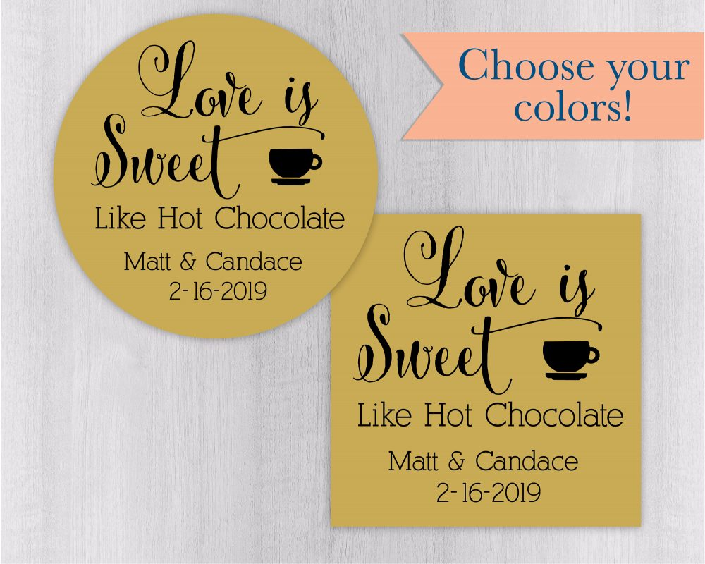 Hot Chocolate Favor Stickers, Cocoa Labels, Love Is Sweet Wedding Stickers | #177-Ss
