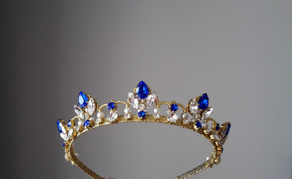 Sapphire Tiara Bridal Crown Blue Wedding Pearl Royal Wedding Gold Tiara Sapphire Headband Something
