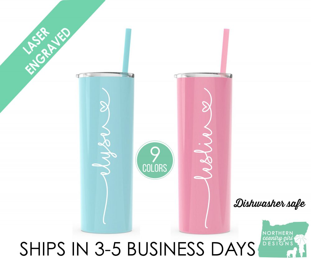Set Of 2 Tumbler, Bridesmaid Etch Insulated Bridal Party, Bachelorette Wedding Personalized, Tumbler Straw
