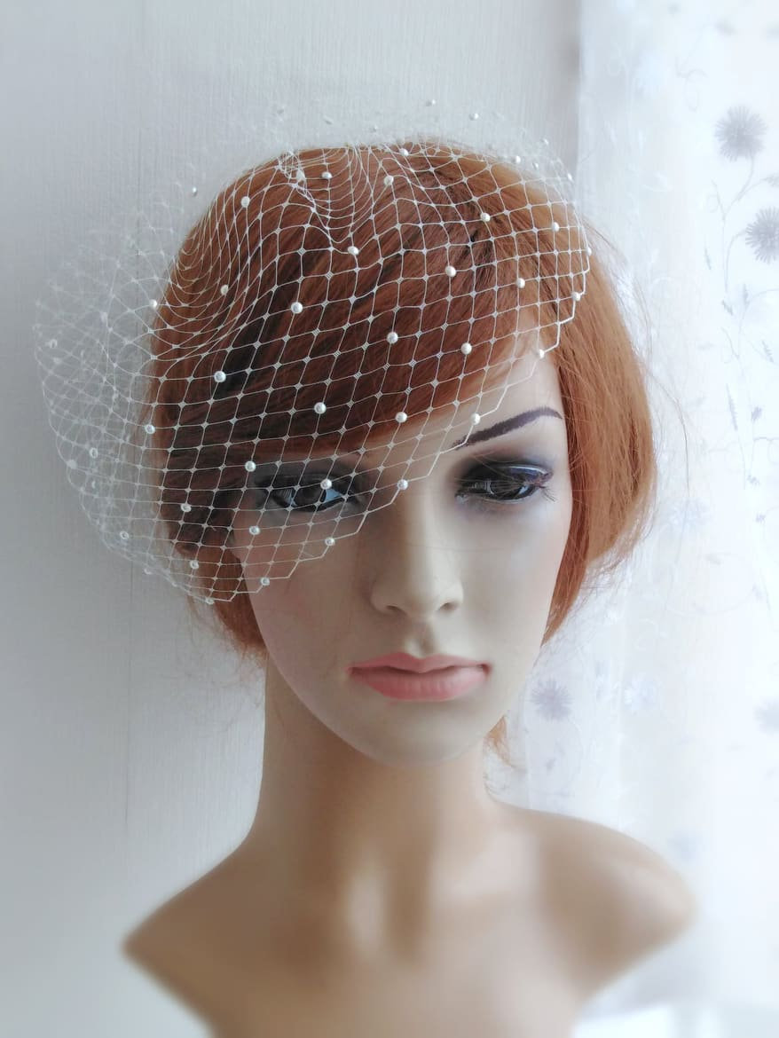 Bridal Birdcage Veil With Pearls, Wedding Pearl Blusher Veil, Bird Cage Vail Head Piece, 9 Inch Birdcage Russian French Netting
