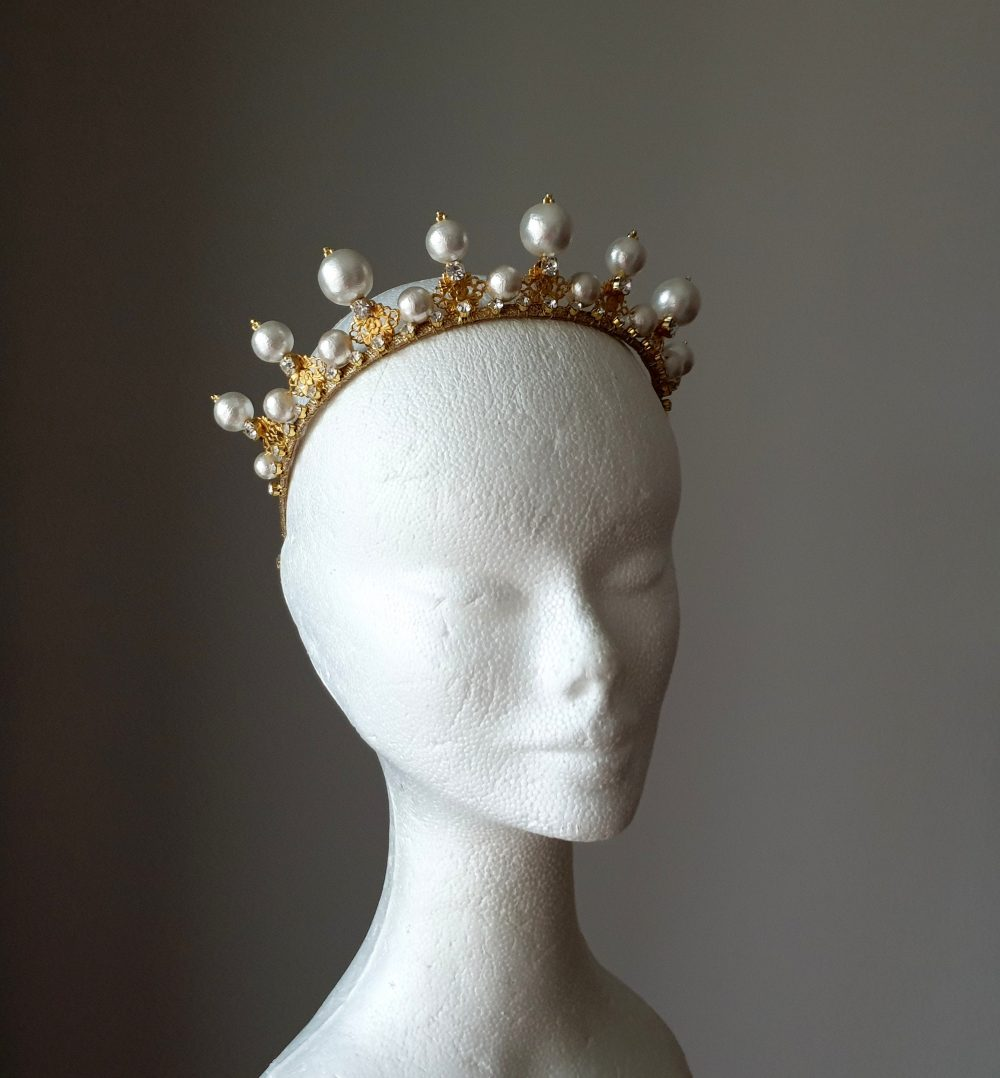Pearl Bridal Crown Gold Wedding Tiara Bridal Gold Wedding Pearl Headband Large Princess