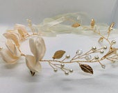 Handmade Flowers Pearl Tiaras Crown, Bride Flower Crown, Wedding Crown, Headband Crown, Boho Crown,wedding accessories,Headpiece,flower vine