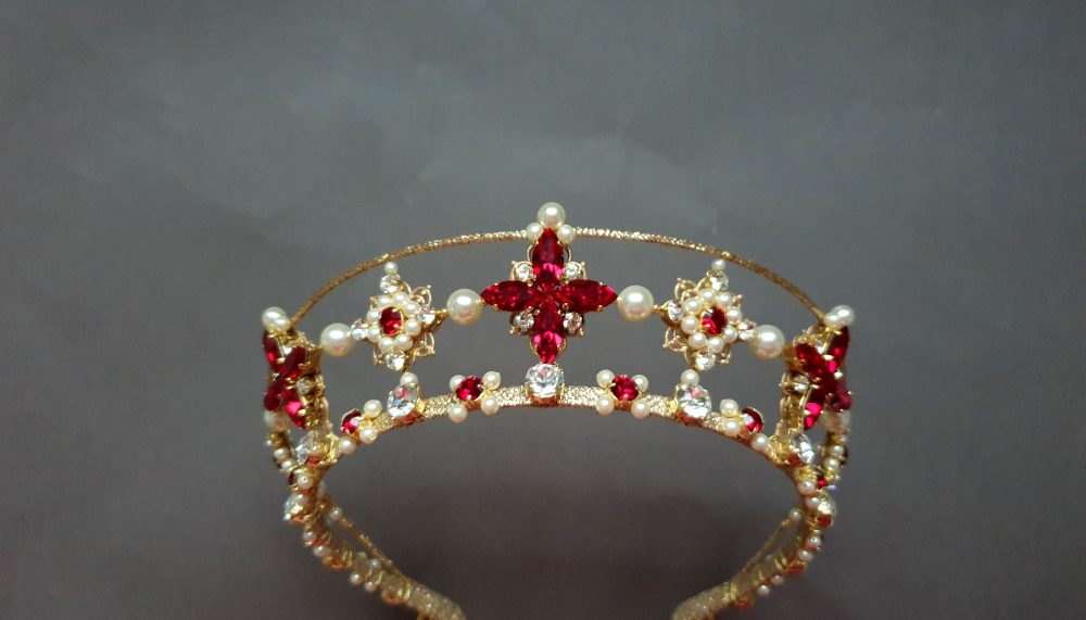 Bridal Star Tiara Red Wedding Pearl Crown Celestial Crystal Double Diadem Gold Kokoshnik