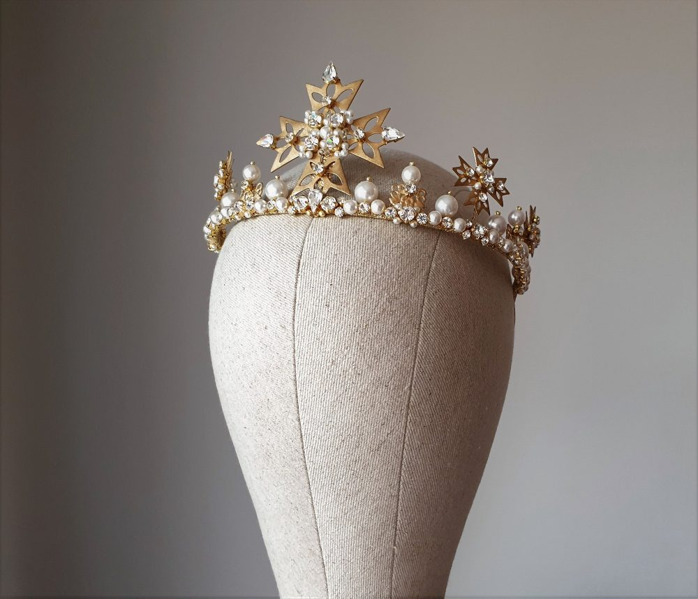 Wedding Pearl Crown Bridal Tiara Cross Diadem Royal Gold Pearl Cross