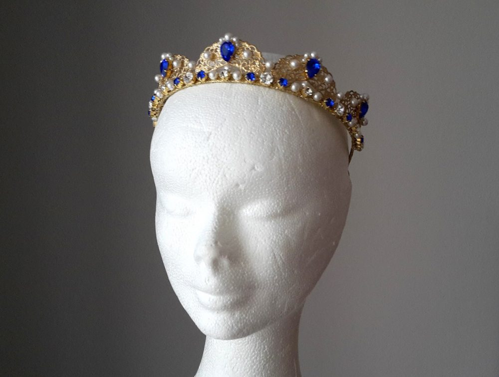 Sapphire Crown Wedding Pearl Tiara Gold Bridal Blue Wedding Pearl Headband Bridal Sapphire Something Blue