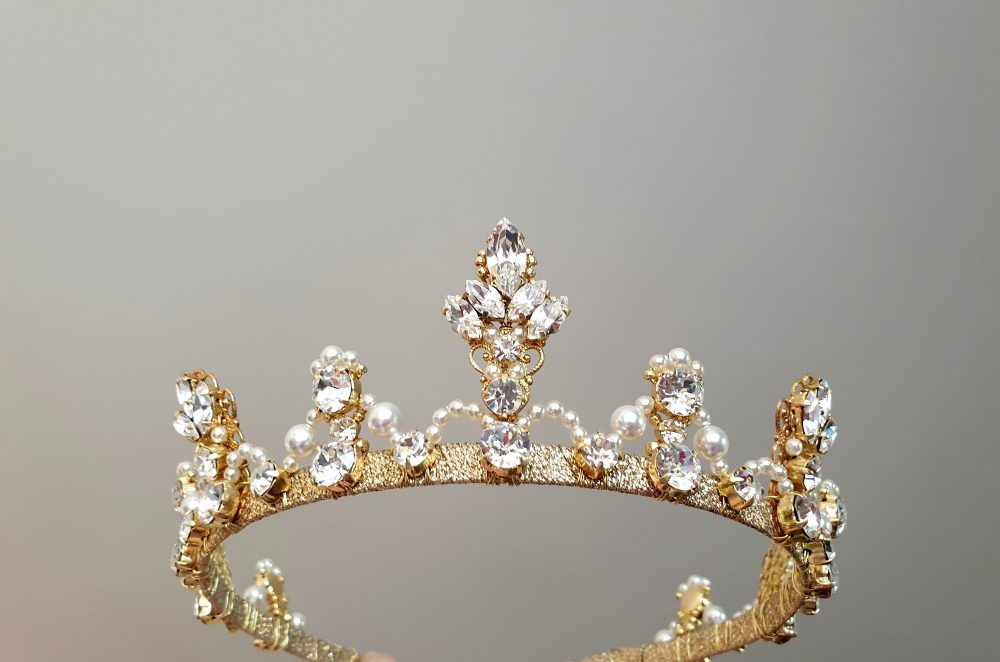 Wedding Pearl Tiara Gold Crown Crystal Diadem Bridal Princess