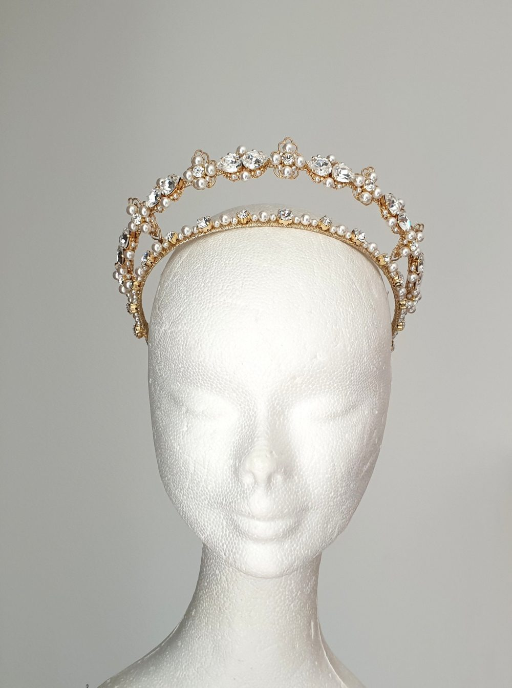 Diadem Double Bridal Tiara Wedding Pearl Crown Gold Bridal Gold Princess Crystal Diadem Pearl