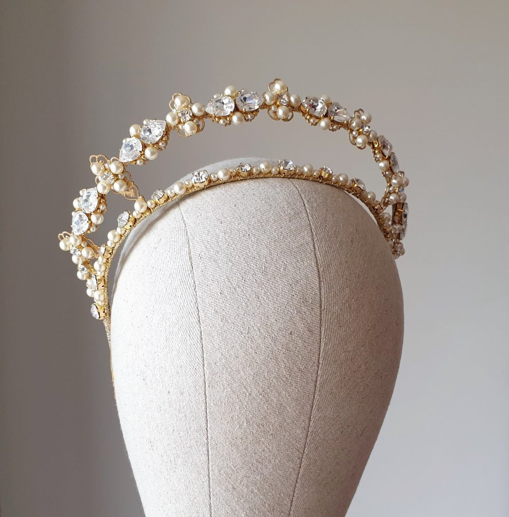 Bridal Tiara Pearl Crown Double Bridal Gold Wedding Pearl Crystal Kokoshnik Diadem