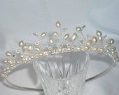 Handmade ivory freshwater pearl and swarovski crystal dainty wedding bridal tiara Free shipping within the UK