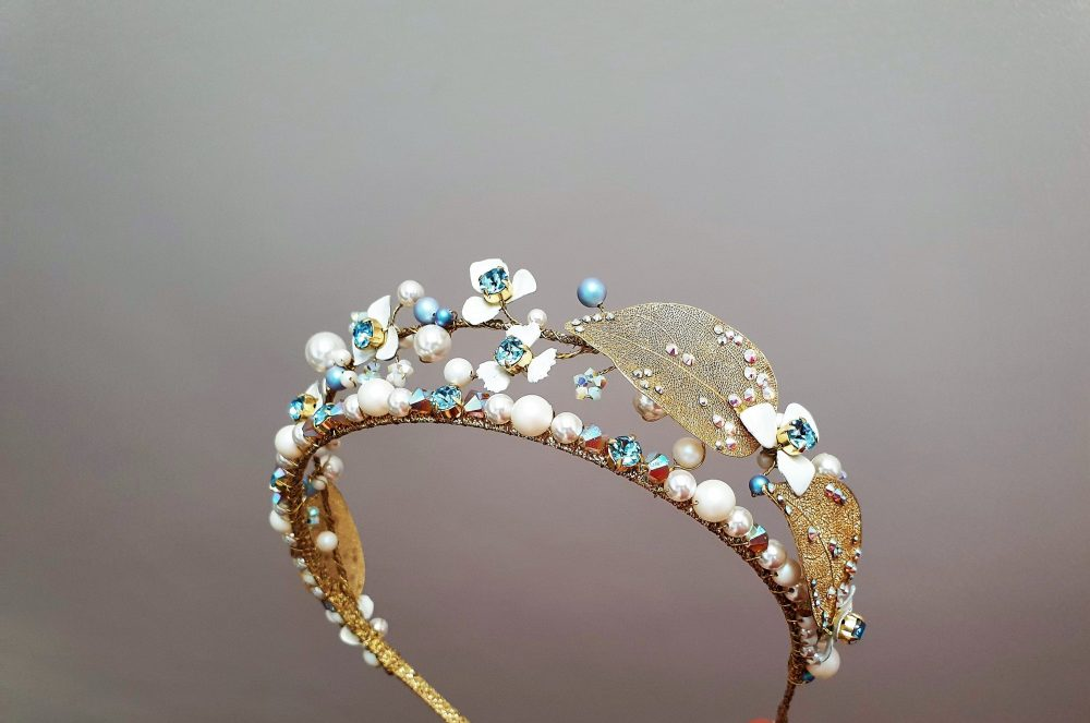 Bridal Crown Blue Flower Wedding Pearl Tiara Diadem Wedding Double Crystal Something