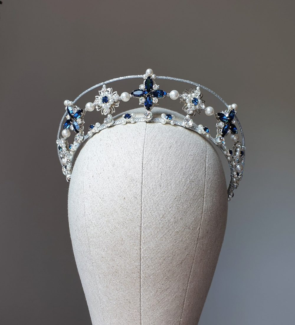 Bridal Tiara Blue Double Crown Blue Crystal Wedding Pearl Silver Diadem Kokoshnik