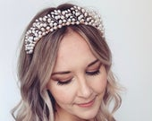 Bridal headband, statement pearl tiara, bridal headpiece, freshwater pearl bridal crown, handmade wedding tiara, rose gold headband