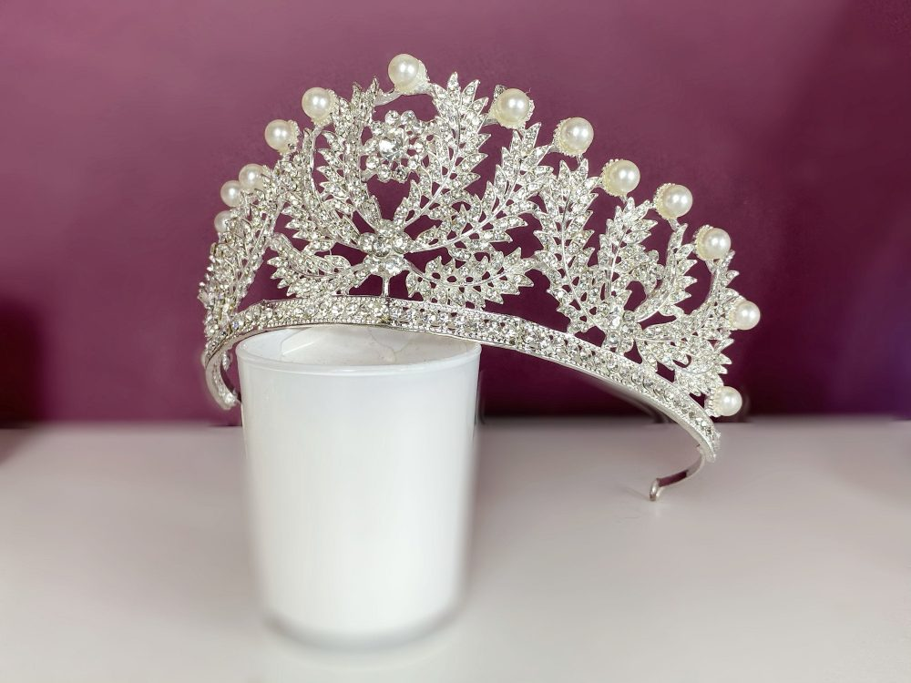 Royal Silver Tiara/Vintage Wedding Tiara/Pearl Tiara/Silver Wedding Hair Accessories/Pearl Bridal Headpiece/Tiaras For Wedding/Tiaras