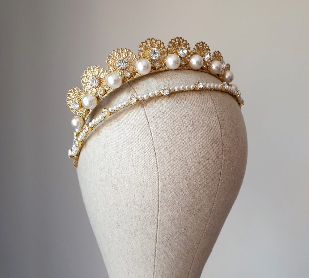 Wedding Pearl Tiara Double Bridal Crown Bridal Gold Double Kokoshnik Diadem Large Princess