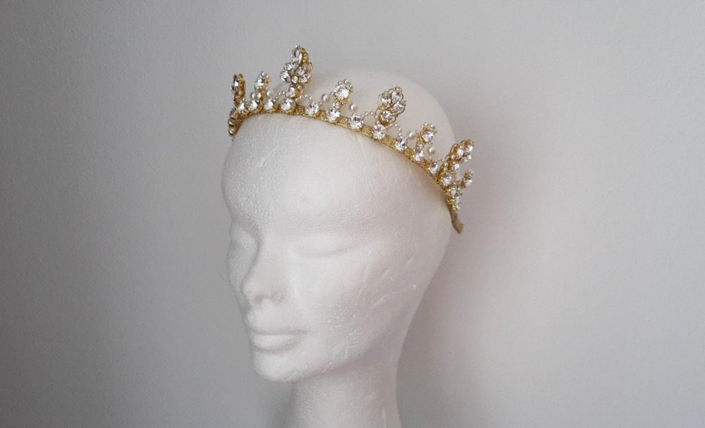 Bridal Crown Gold Wedding Pearl Tiara Crystal Diadem Princess Crystal