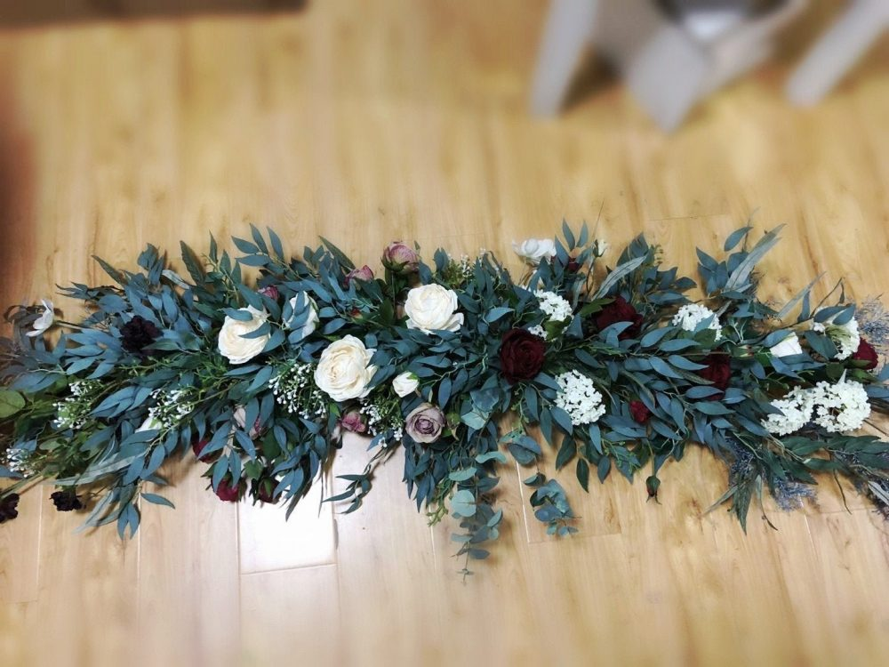 7Ft Large Maroon/Burgundy Rose & Ruscus Swag For Wedding Altar/Wedding Arch/Arbor/Archway Decor, Silk Flower Swag, Hanging Flowers