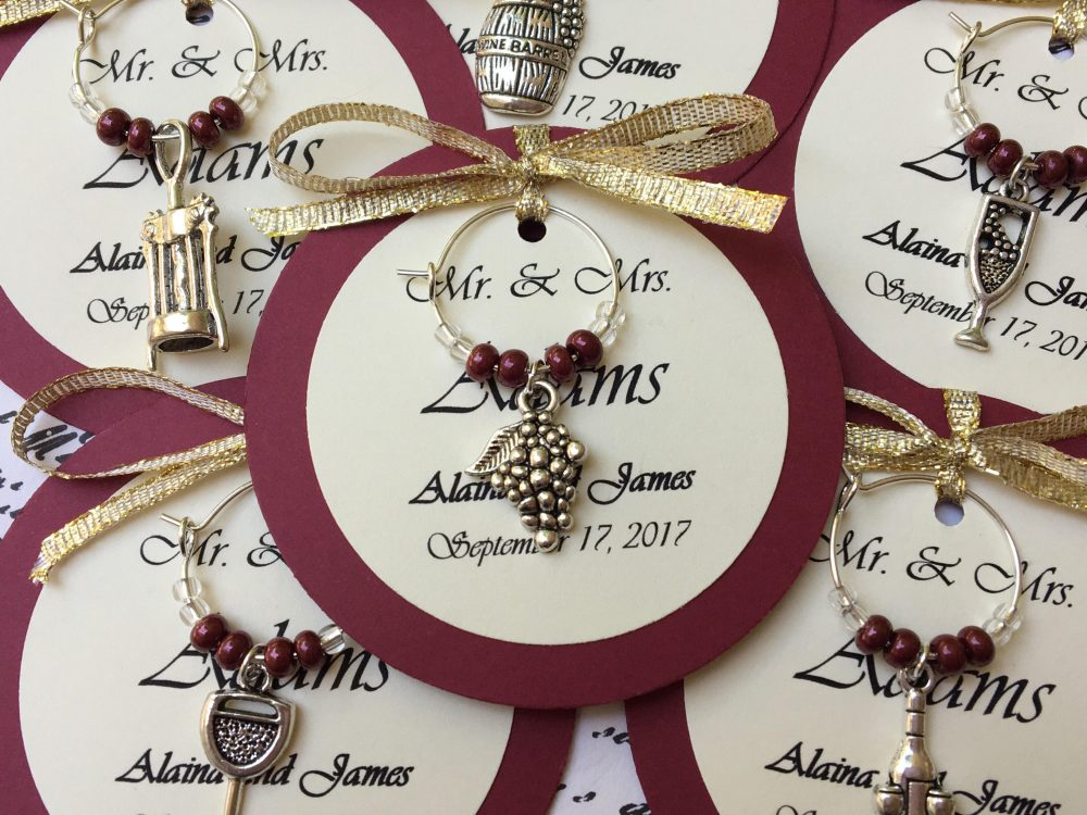 5-45 Custom Wine Themed Charm Favors - Weddings, Bridal Shower, Rehearsal Dinner, Anniversary, Birthday Party Or Special Event