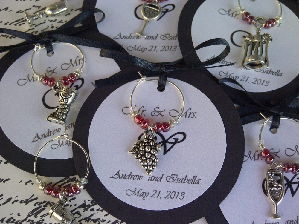 100-200 Custom Wine Themed Charm Favors - Weddings, Bridal Shower, Rehearsal Dinner, Anniversary, Birthday Party Or Special Event