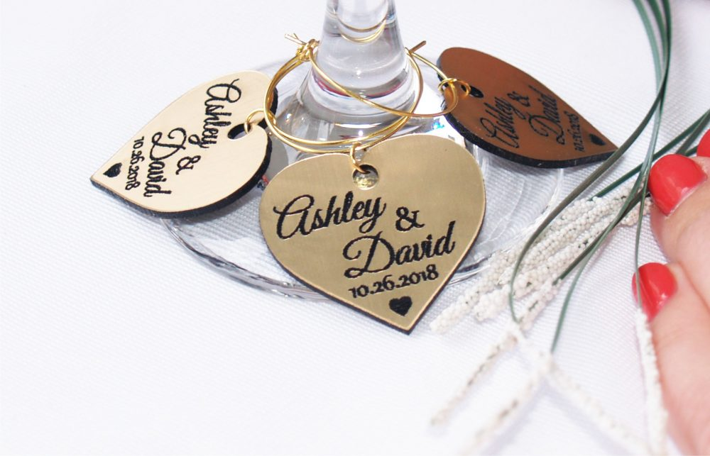 Personalized Gold Wedding Wine Glass Charms Favors, Table Name Decoration
