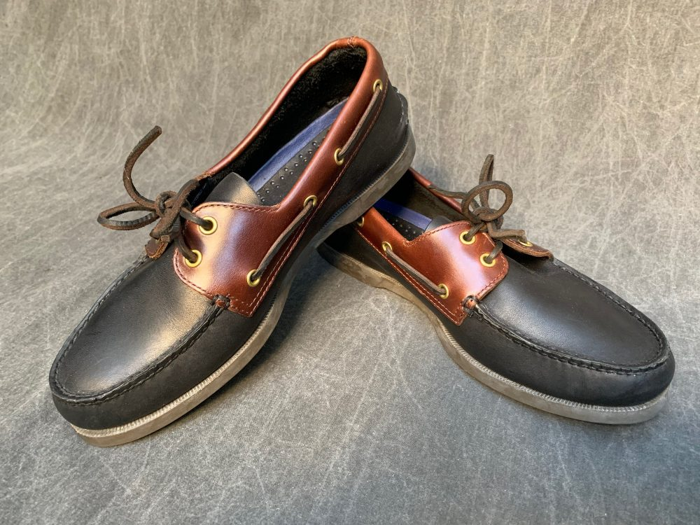 80S Sperry Leather Top Siders Two Tone Smooth Black & Brown Boat Shoes // Men's 10 W