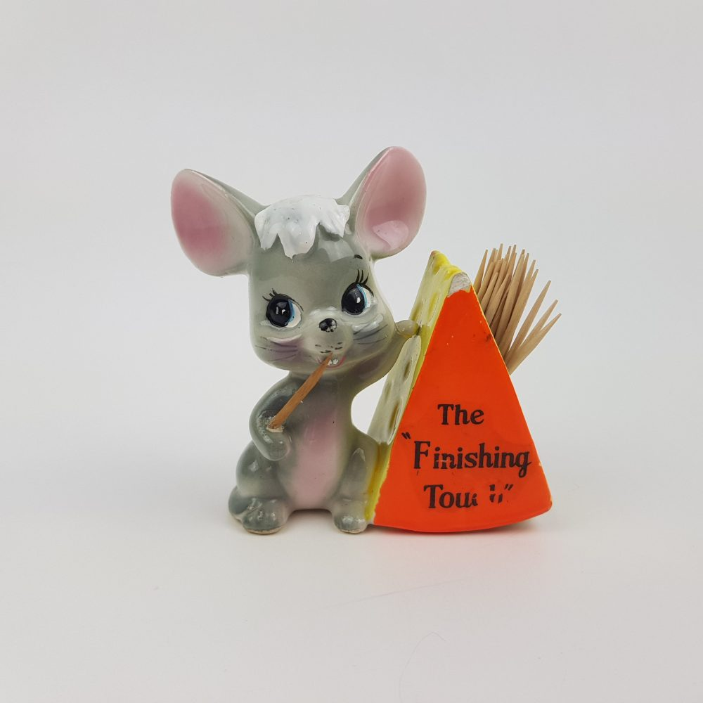 Mouse & Cheese Toothpick Holder The Finishing Touch Picking Its Teeth With Wedge Of Big Ear Gray Yellow Figural Novelty