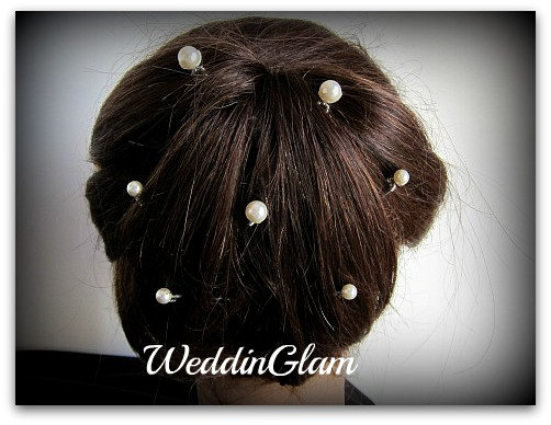 Bridal Hair Pins, Wedding Accessories, Swarovski Pearls, Bridesmaid Or Flower Girl Hairdo, Prom Hair, Champagne Pearl Pins