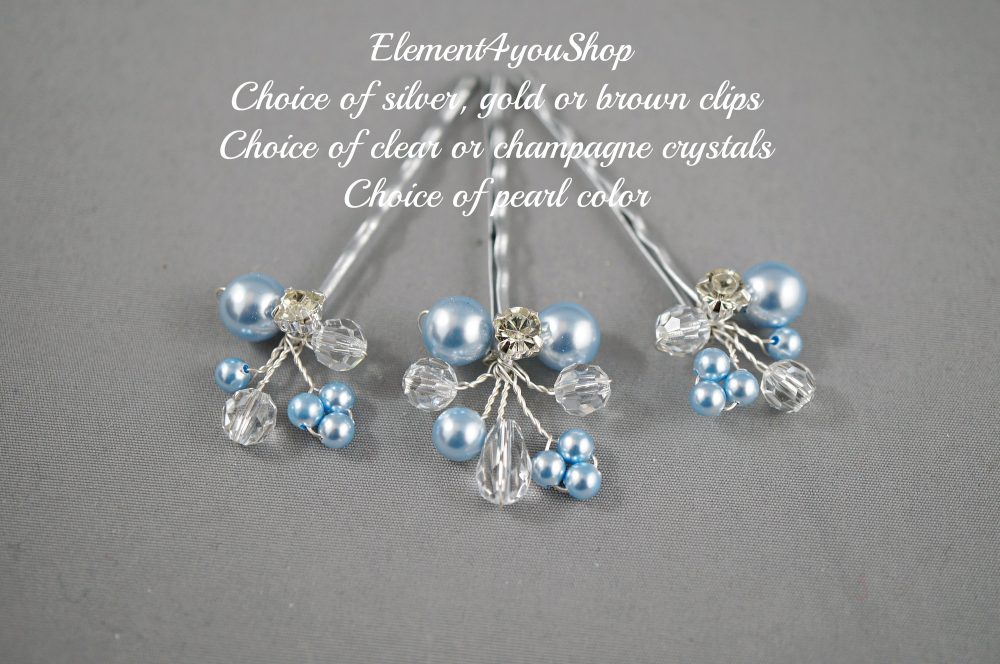 Bridal Hair Pins. Champagne Blonde Pearls Clips, Wedding Hair Crystals Pins, Cluster Pearl Clips. Accessory