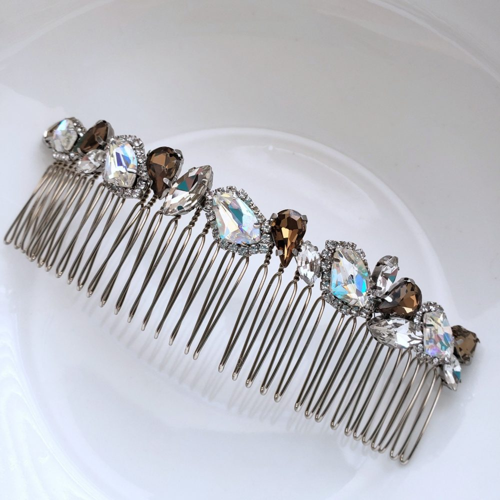 6 Inches Long Veil Comb, Bridal Comb, Coffee Crystals Rhinestone Hair Comb, Topaz Aurora Crystal Tiara, Ab Stones Comb, Wedding Accessory