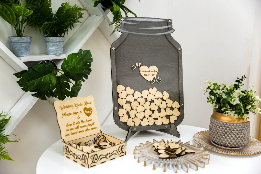 Mason Jar Guest Book Wedding Wedding, Customize The Background Color To Your Desire, Rustic