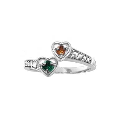 Two Heart Promise Ring with CZ Birthstone