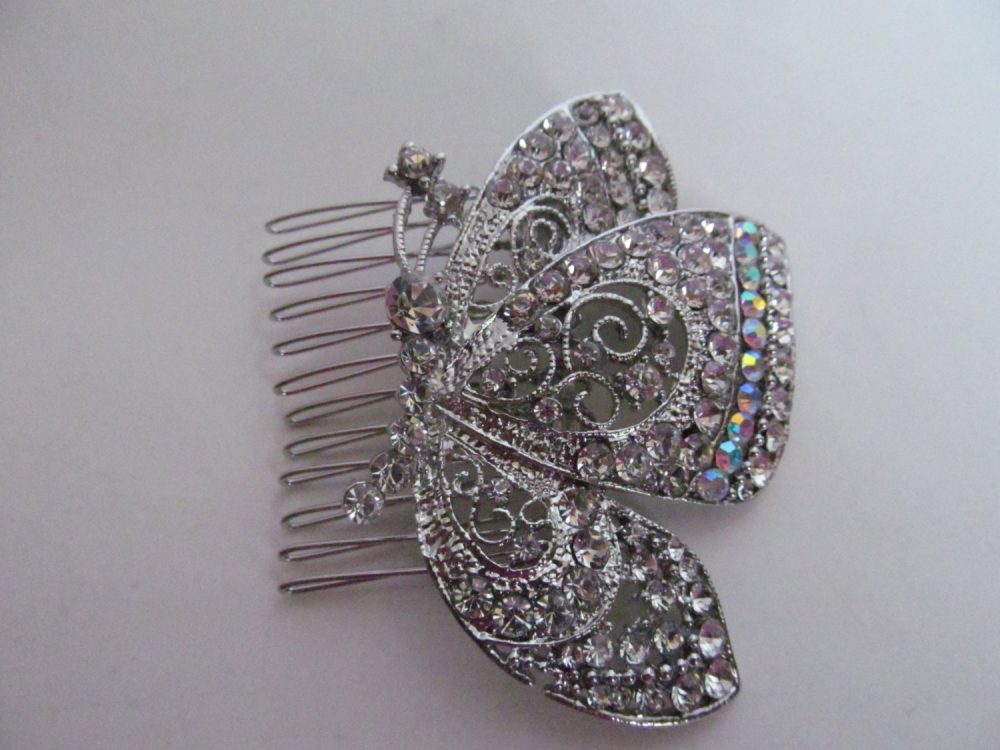 Butterfly Wedding Hair Accessory Clip Bridal Head Piece Rhinestone Crystal