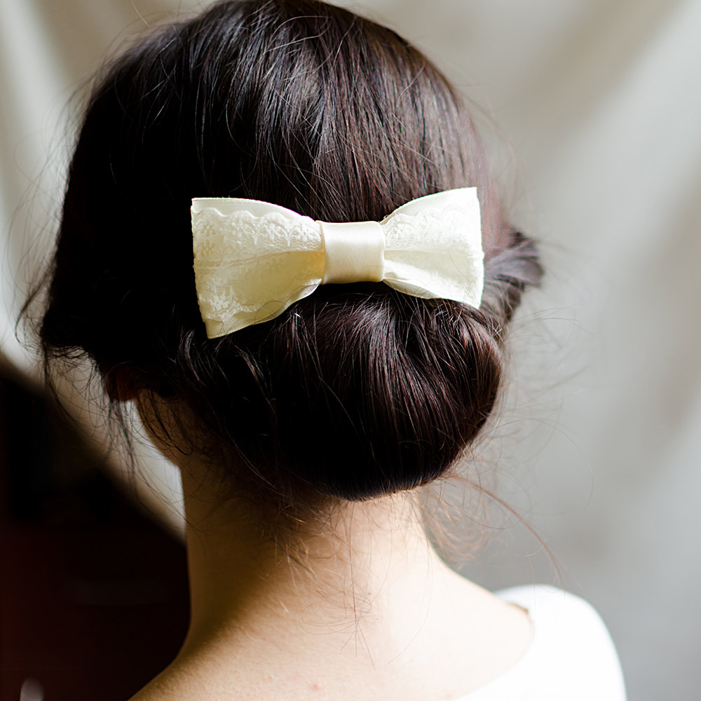Wedding Hair Accessories Lace Comb Flower Girl Bridal Piece Bow