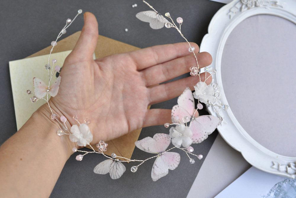 Butterflies Bridal Headpiece Flower Headband Wedding Hair Vine Blush Prom Hair Accessory Bohemia Head Piece Beach