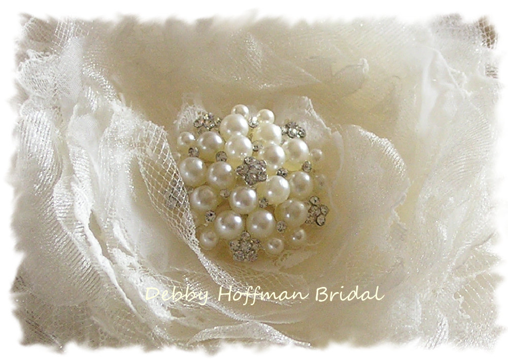 Wedding Hair Flower, Floral Bridal Comb, Lace Flower Clip, Crystal Pearl, Headpiece No. 105F4