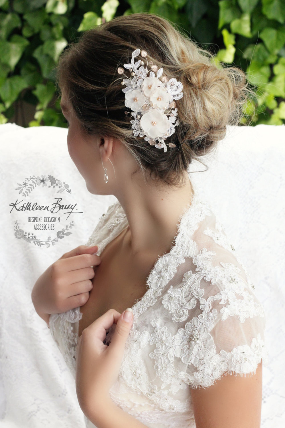 Bridal Lace Floral Hair Comb, Blush Pink Rose Gold Wedding Hair Piece, in Off White, Nude, Blush, Ivory Style Marilyn