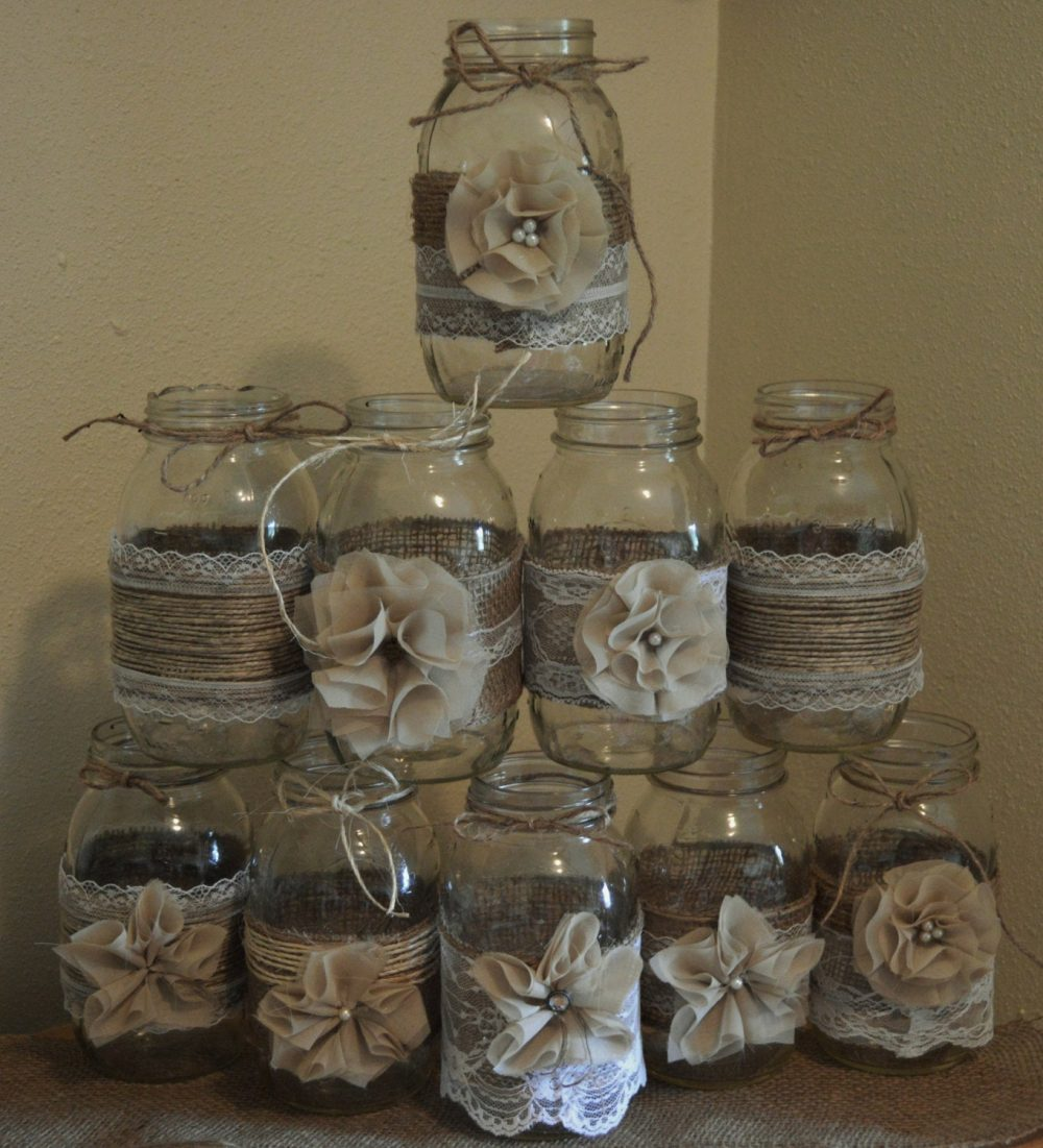 Set Of 10 Mason Jar Sleeves, Burlap Wedding Decorations, Rustic Centerpieces, & Lace Jars