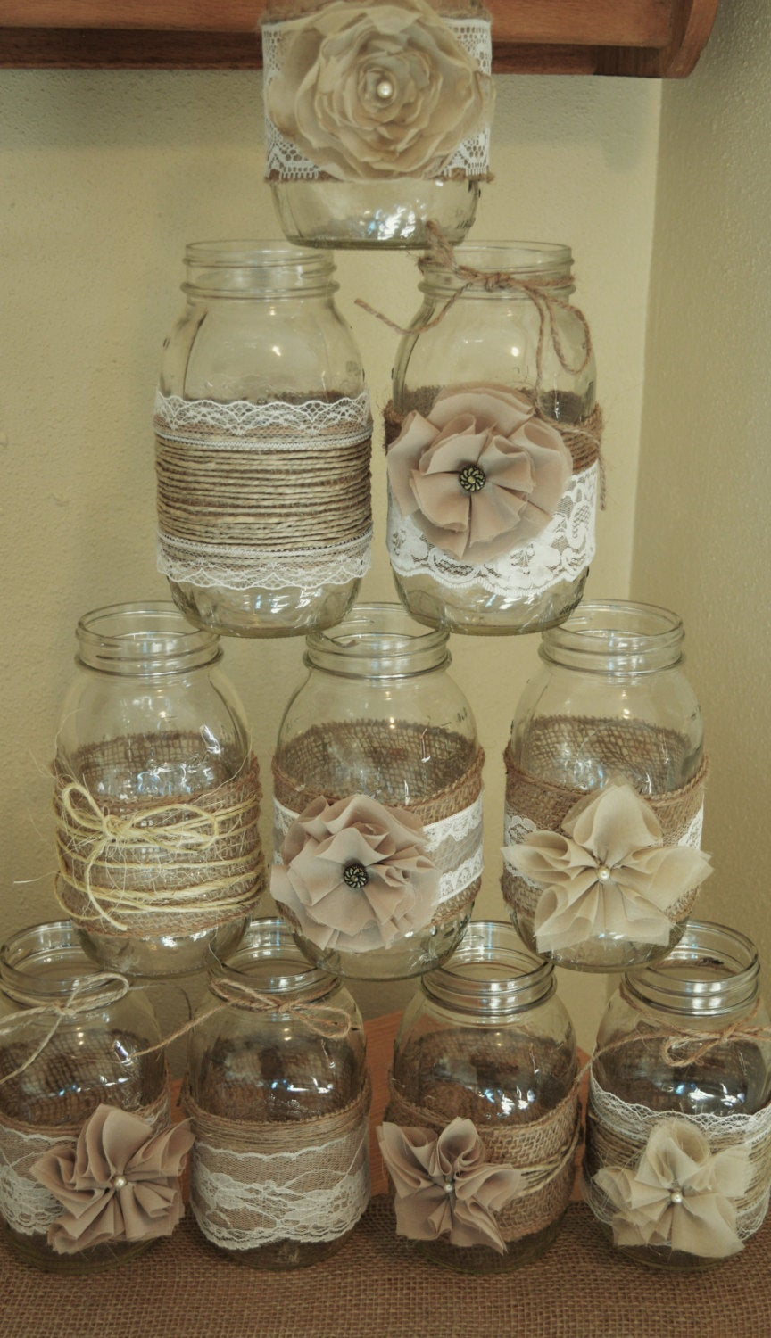 Set Of 10 Mason Jar Sleeves, Burlap Wedding Decorations, Rustic Centerpieces, & Lace, Not Included