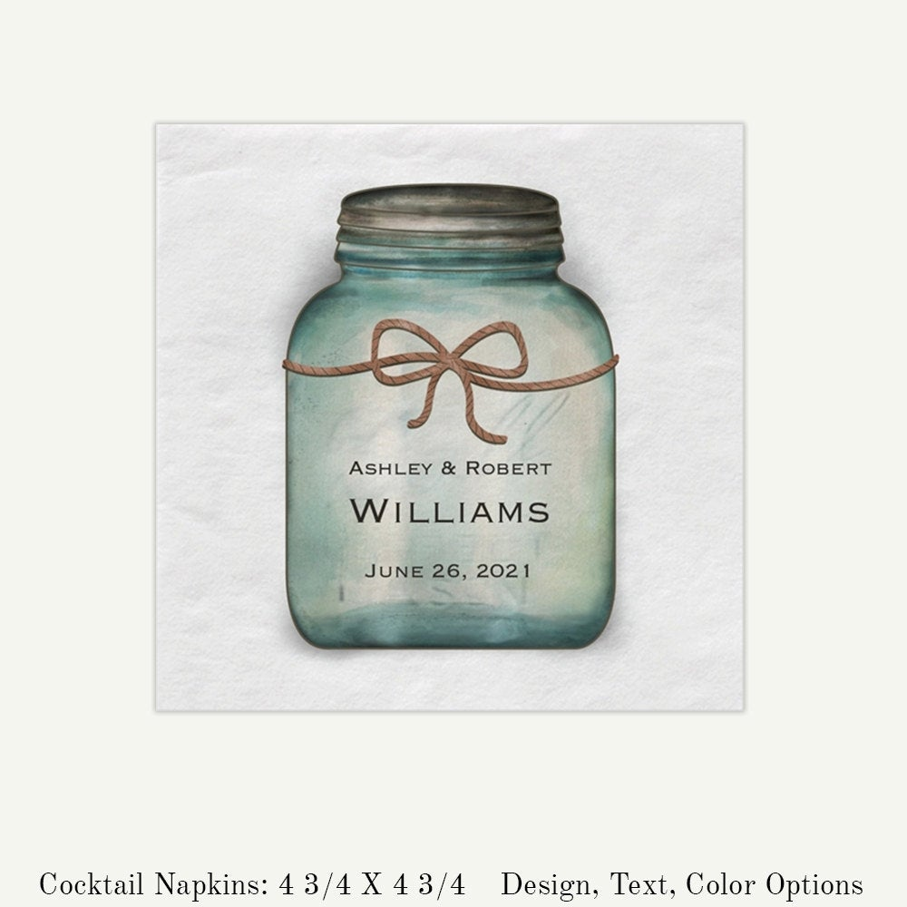 Rustic Wedding Mason Jar Personalized Beverage Napkins | Custom White Paper Quantity Discounts