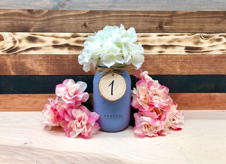 Mason Jar Table Numbers - Wedding Rustic Decor Centerpieces