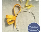 Yellow small fascinator hairband with feathers. Wedding fascinator, hat for races