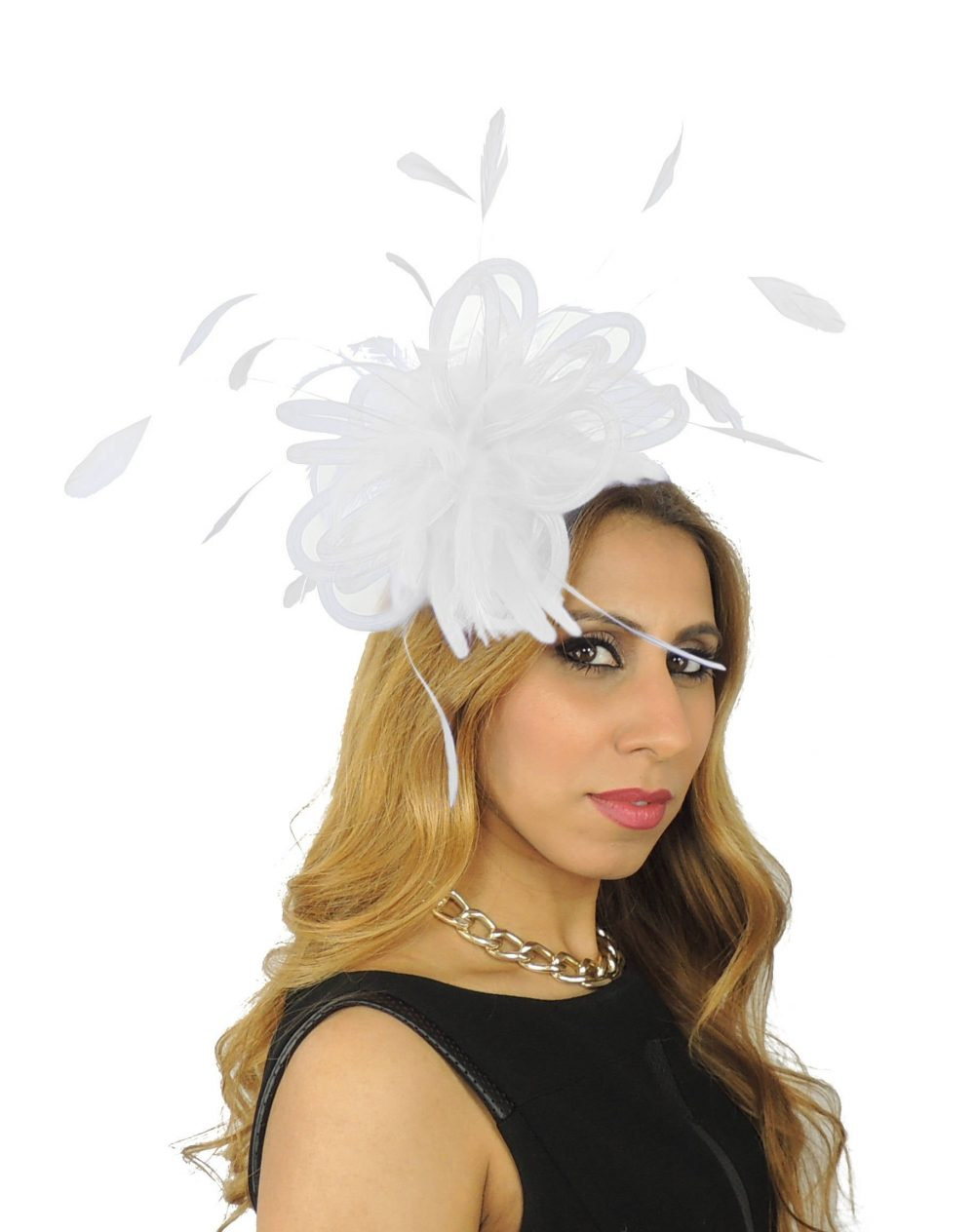 Fluffy Crin White Wedding Fascinator Hat For Weddings, Races, & Special Events With Headband