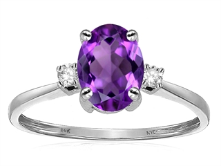 Star K™ Oval 8x6mm Genuine Amethyst Engagement Promise Ring