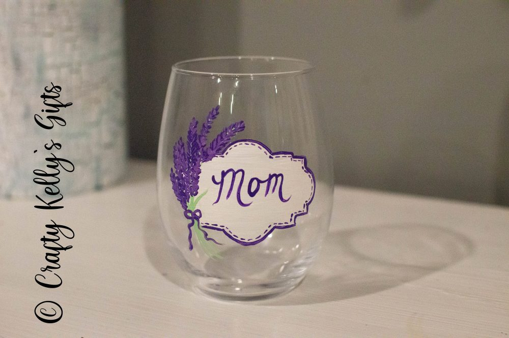 Hand Painted Lavender Mothers Day Wine Glass, Spring Gift From Daughter, Glass For