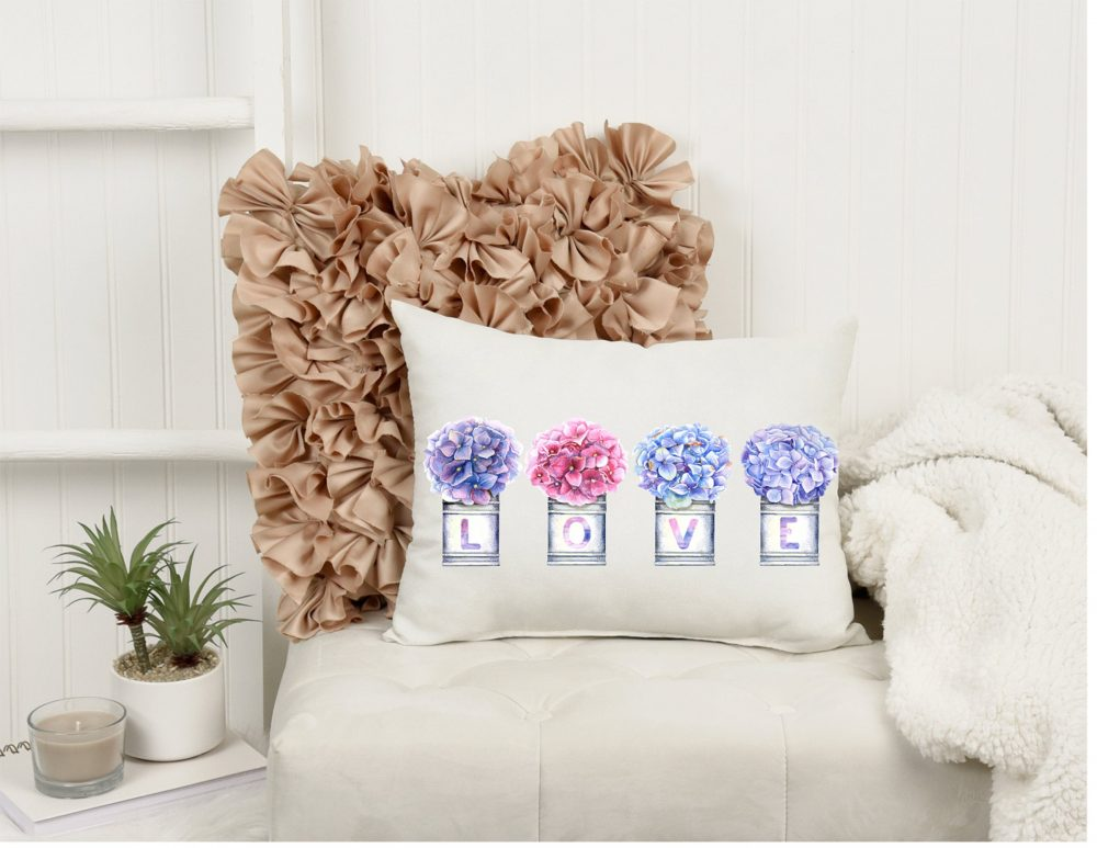 Hydrangea Pillow, Floral Pillow Mason Jar Rustic Farmhouse Pillow, Gift For Her, Mother's Day Gifts