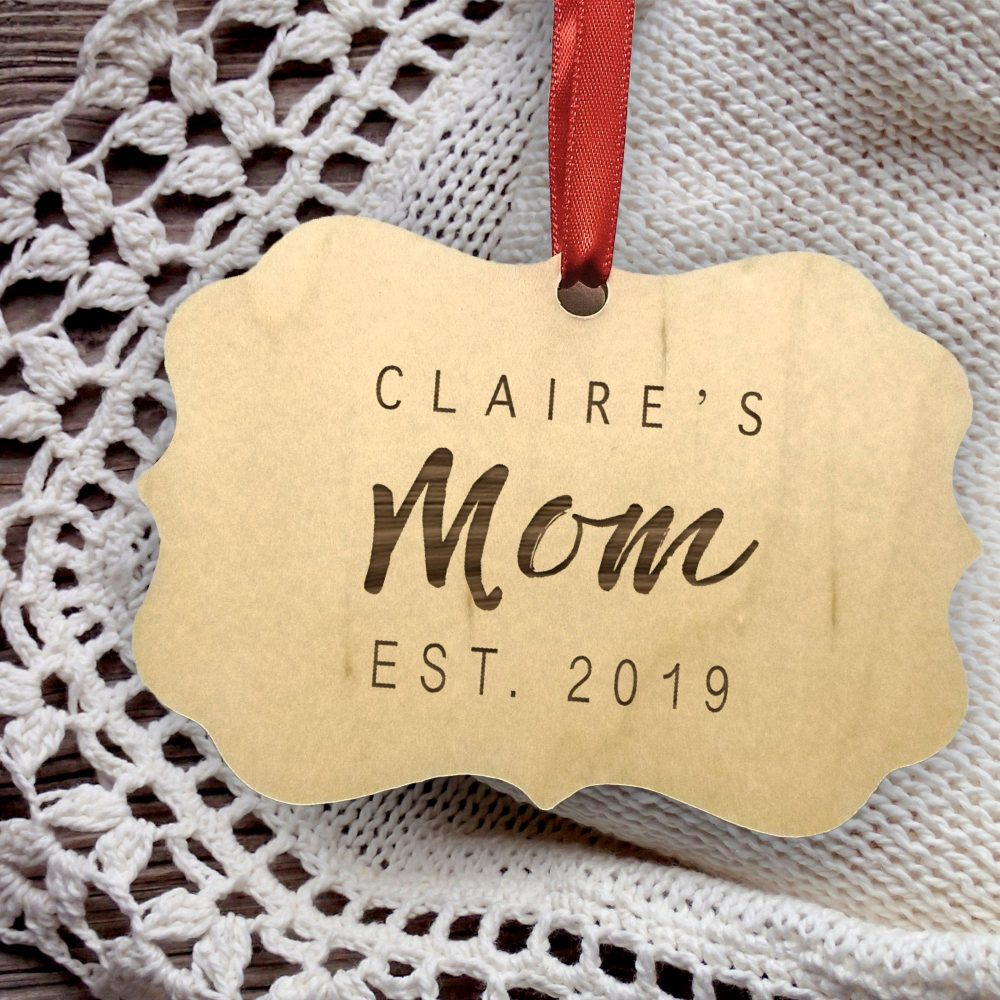 Mom Christmas Ornament - Personalized Wooden Rustic Mother's Day Gift Mother