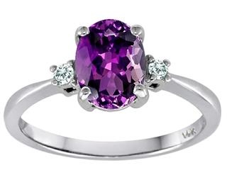 Tommaso Design™ 8x6mm Oval Genuine Amethyst Engagement Ring