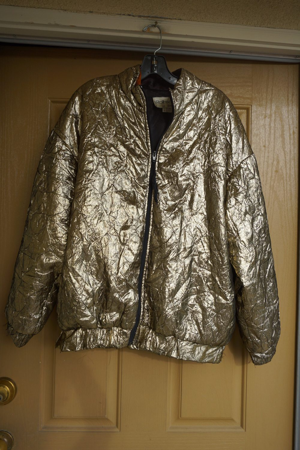 L Rothschild For Lilli Ann Gold Metallic Jacket Coat Womens Size Large Insulated Shiny Shimmer