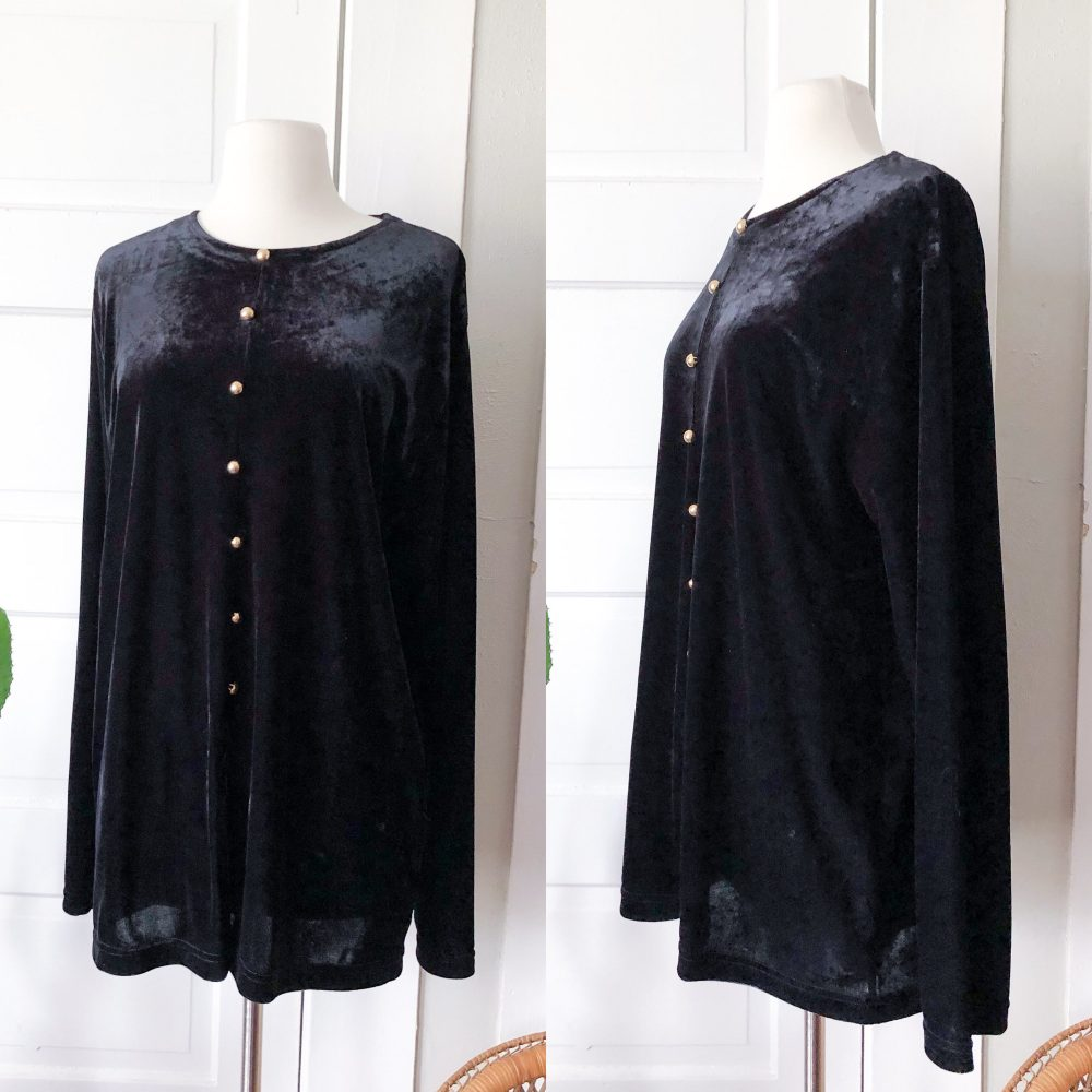 80S Leslie Fay Large Xl Black Velvet Long Sleeve Blouse Tunic Gold Buttons Womens Vintage