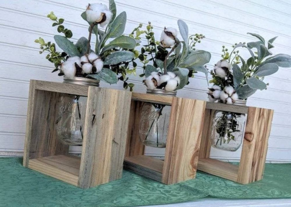 Rustic Wedding Table Decor - Two Pint Mason Jar Vase Holders -Farmhouse Centerpiece -Add Fresh Flowers Or Lights @ Apronstringsowllady