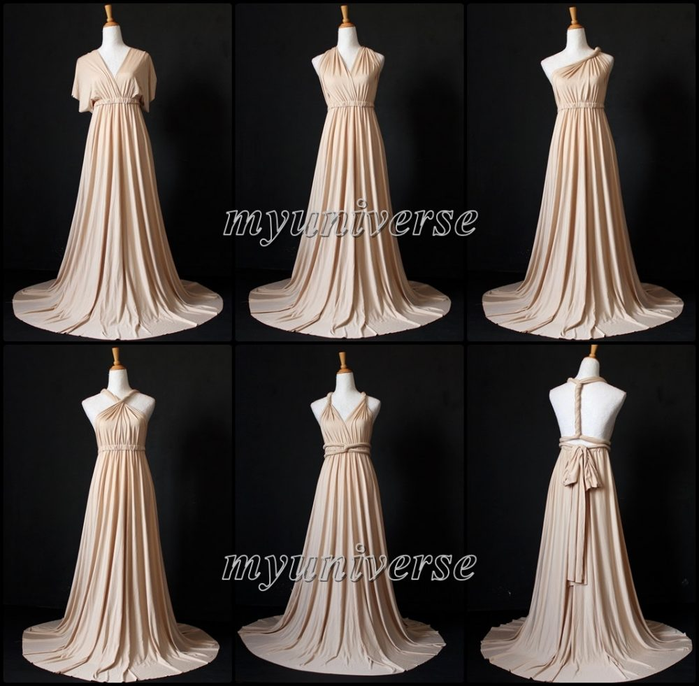 Champagne Bridesmaid Dress Wrap Convertible Infinity Maxi Wedding Plus Size Flower Girl Formal Evening Gown